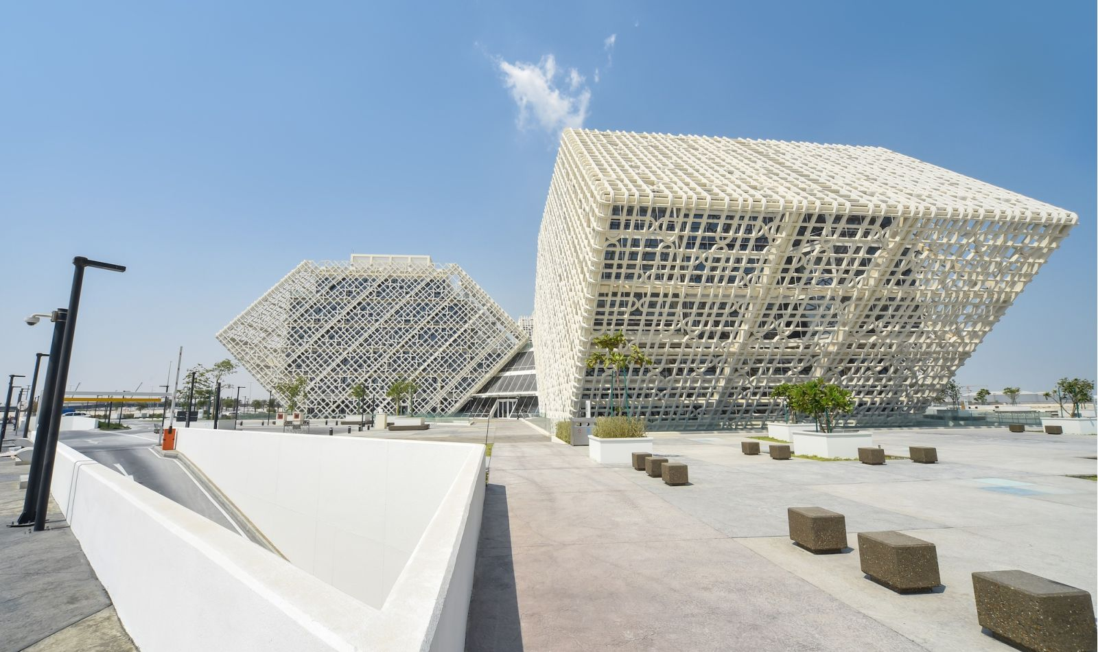 Exterior of Ras Bufontas Office Building, Hexagonal shape with white lattice covering