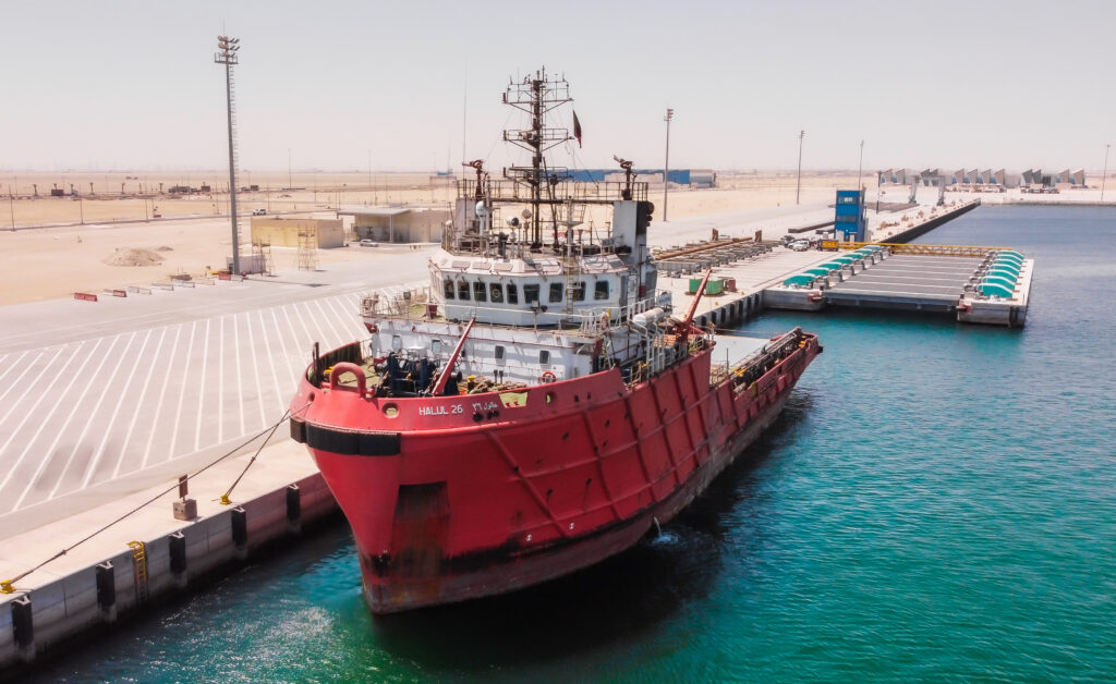 The first ship to be lifted via the Syncrolift at MARSA port, Umm Alhoul Free Zone